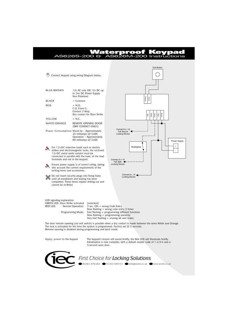 medium resolution of al2000 monitored electric strike instructions as626 alpro keypad instructions mar10