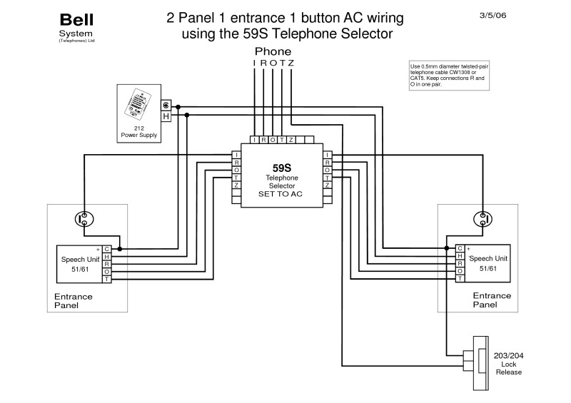 aiphone intercom wiring diagram for honeywell thermostat rth2300b telephone all data bell diagrams