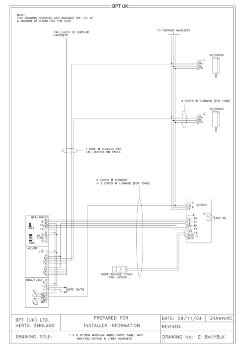small resolution of bpt wiring diagram 1 x 8 button audio entry panel mna102 keypad