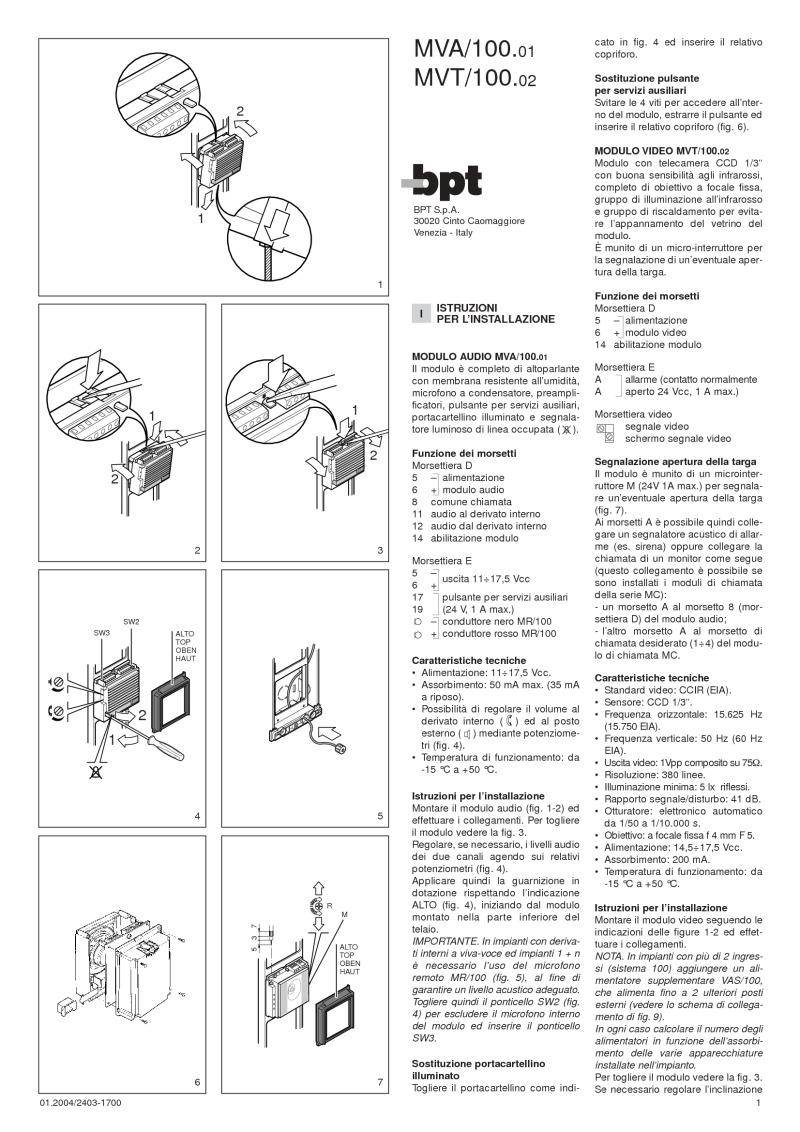 BPT-MVT/100.02-BPT Camera Module Monochrome