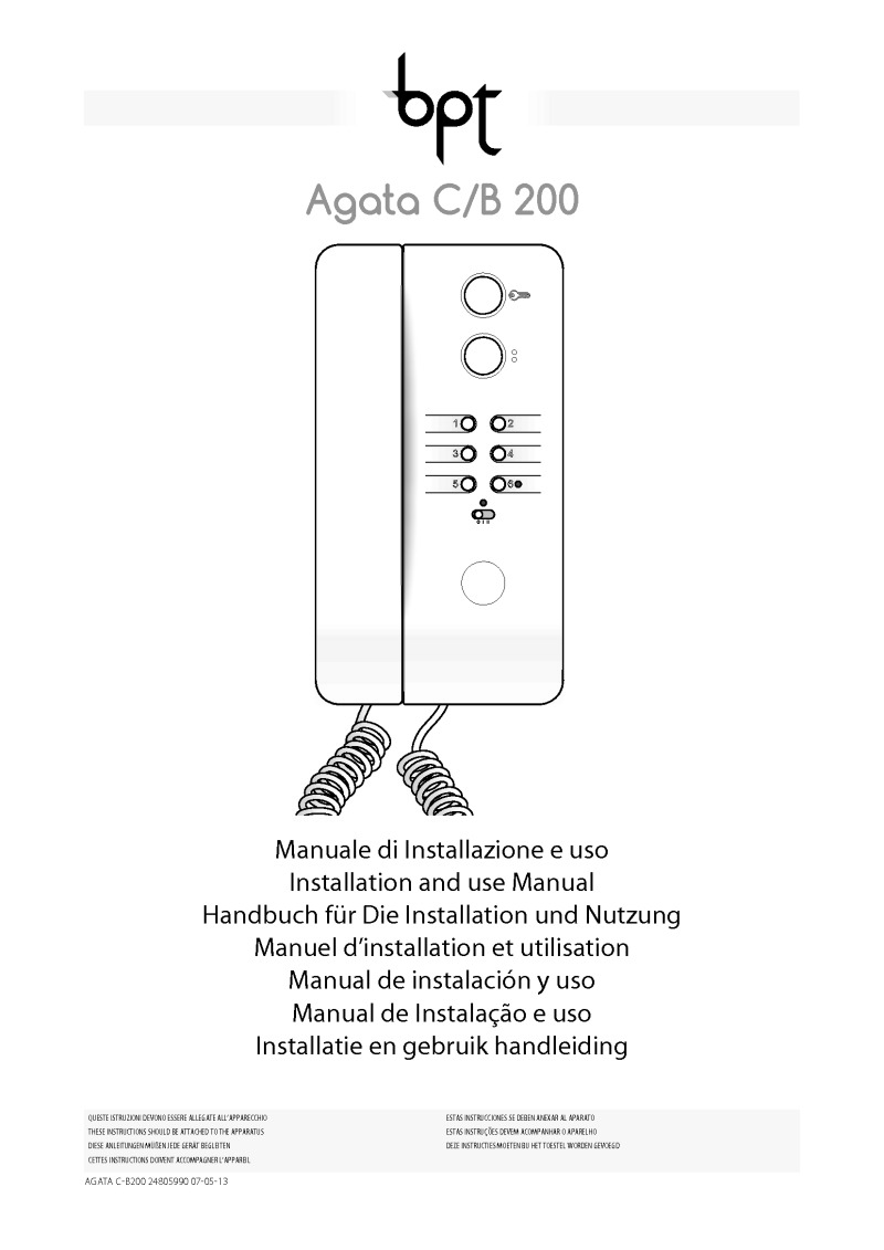 medium resolution of bpt agata c b 200 user manual