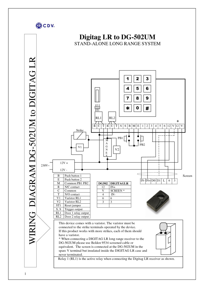 hight resolution of instructions for dg502 m access control unit long range proximity