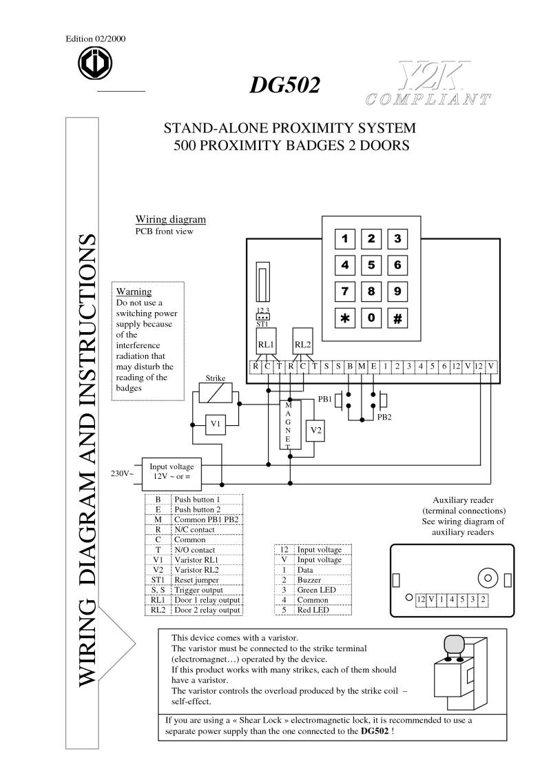 hight resolution of cdvi instruction manual for art dg502
