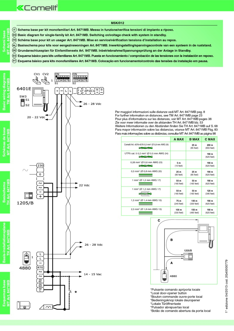 hight resolution of comelit wiring diagramscomelit diagram for single family kit art 8471mb