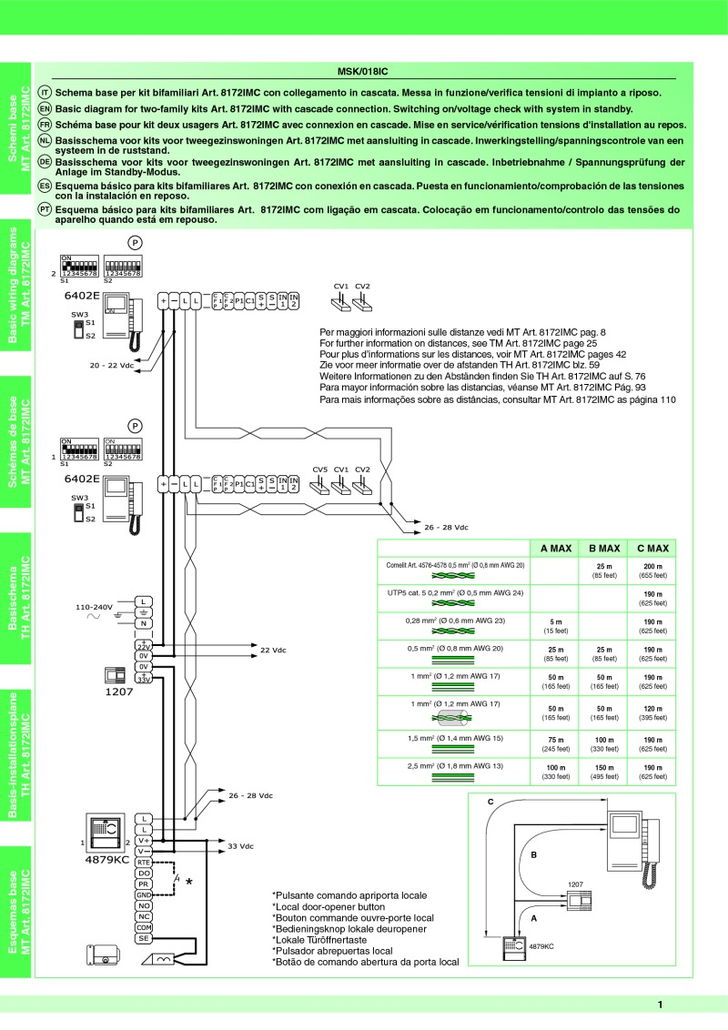 comelit wiring diagram diy diagrams for light switches art 8172imc