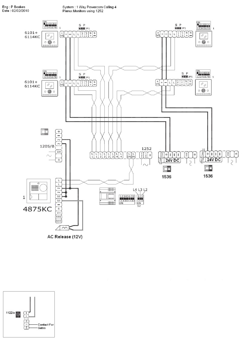 comelit wiring diagram cat5 plug diagrams 1 main entry panel call button calling 4 x planux monitors using 8
