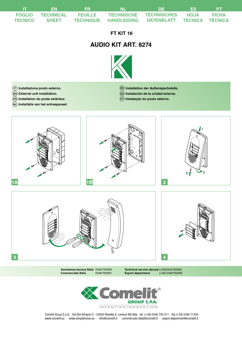 hight resolution of comelit 8274 5 wire 4 user audio kit short technical manual
