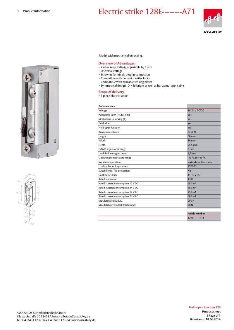 Eff Eff-128EA71- Electric Strike Fail locked 10-24V AC/DC