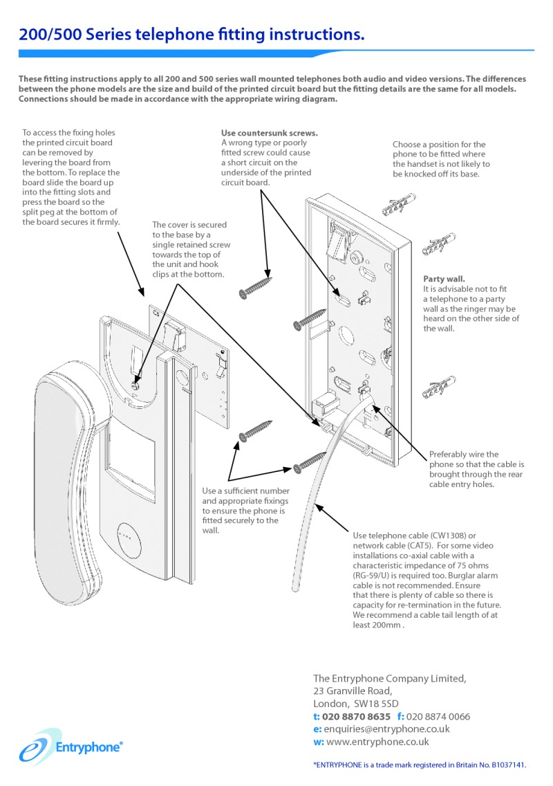 hight resolution of entryphone installation instructions for 200 500 series telephones