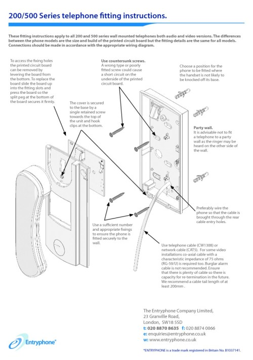 small resolution of entryphone installation instructions for 200 500 series telephones