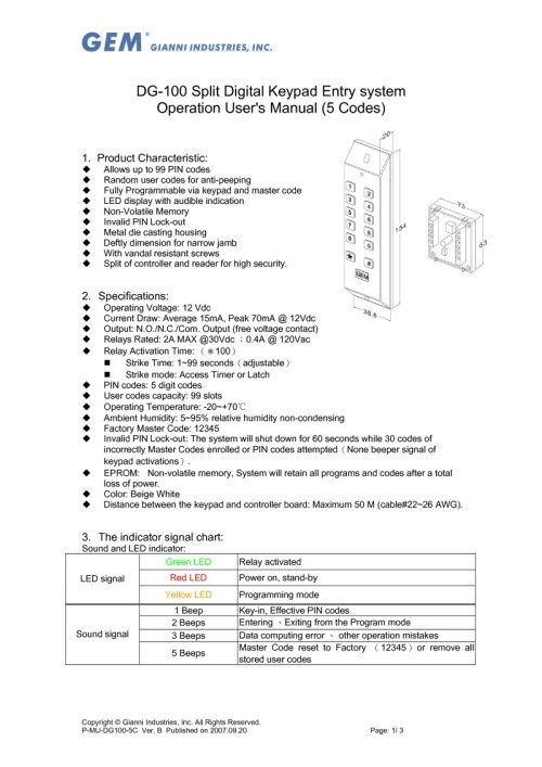 small resolution of dg100 keypad user guide
