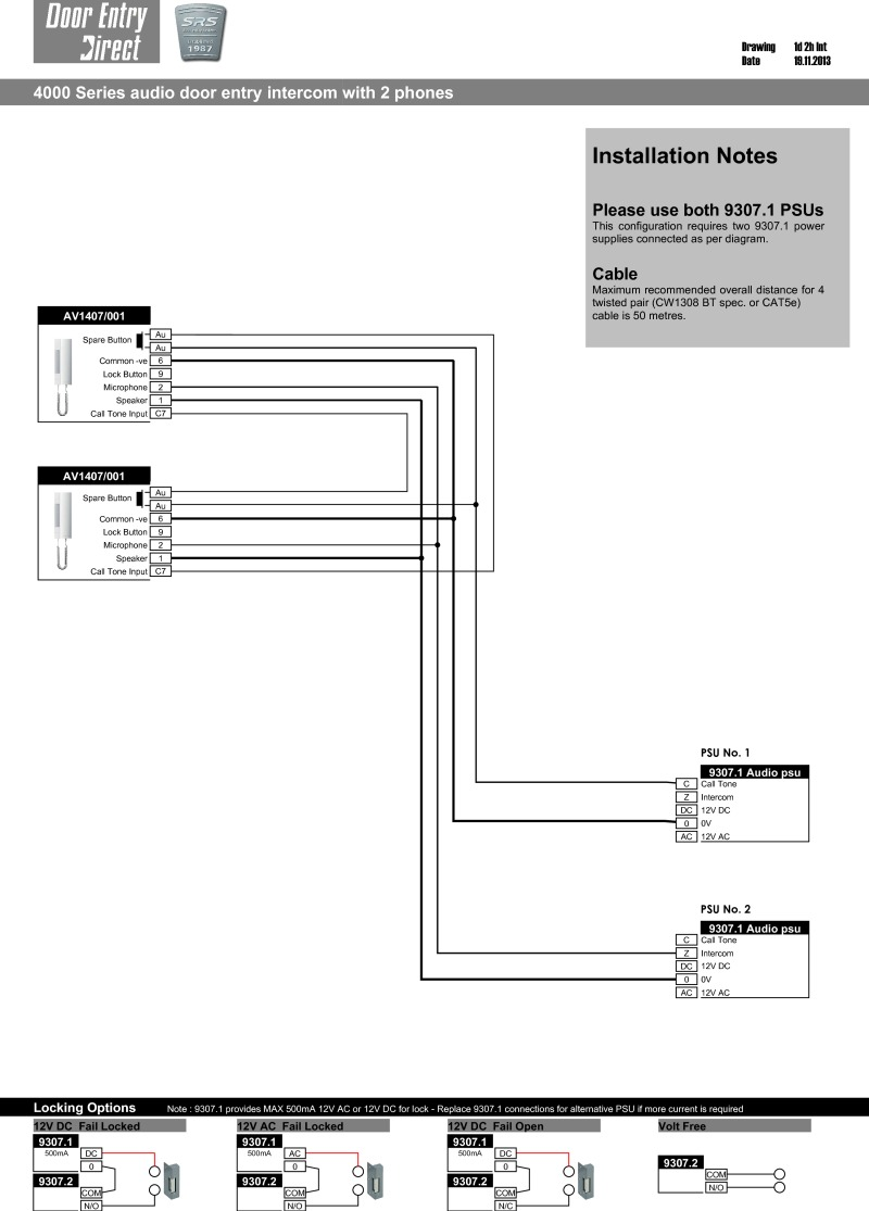 medium resolution of srs audio installation diagram for two phones audio intercom kit