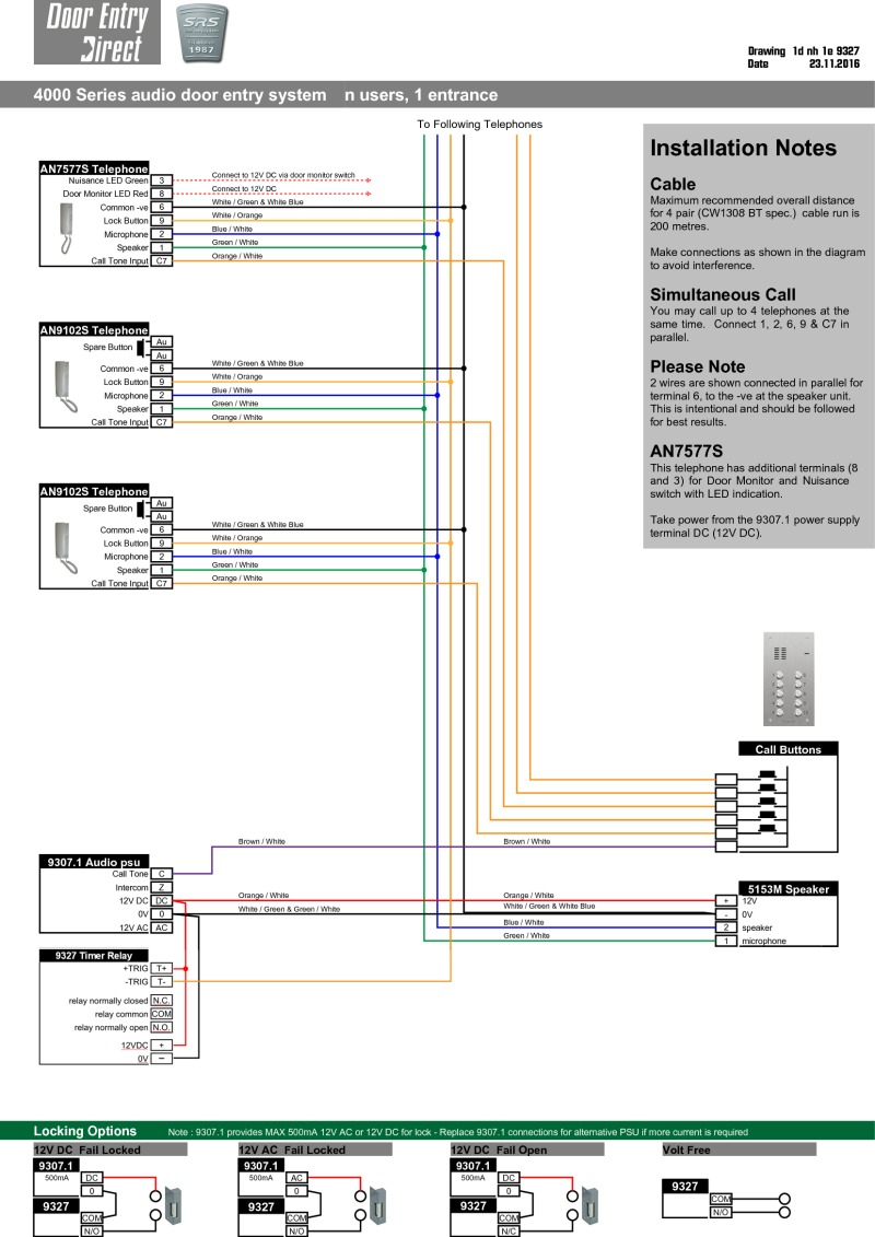 hight resolution of srs audio installation diagram n way 1 entrance with 9327 timer in