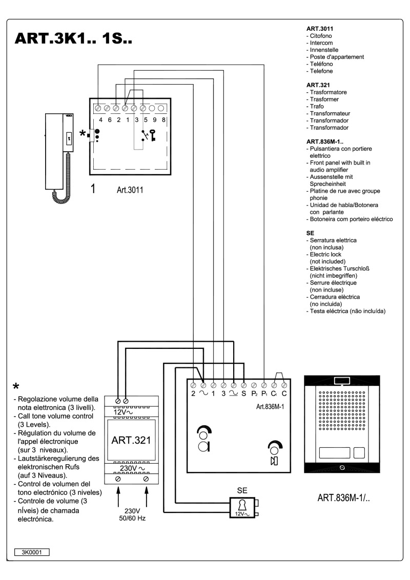 hight resolution of videx 836 series audio wiring diagram 1 x entrance 1 x phone 321
