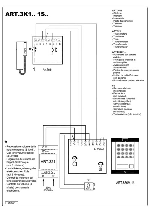 small resolution of videx 836 series audio wiring diagram 1 x entrance 1 x phone 321