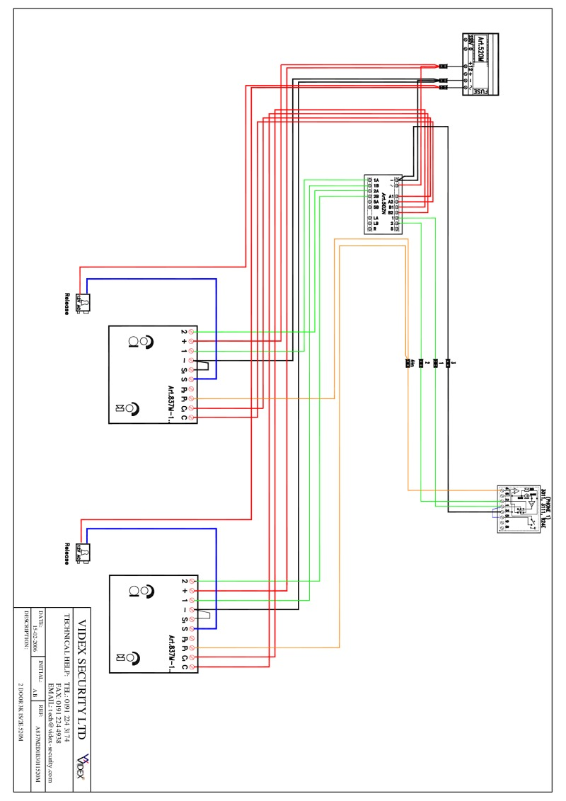 hight resolution of videx kit wiring diagramsvidex 836 series audio wiring diagram 2 x entrance 1 x phone