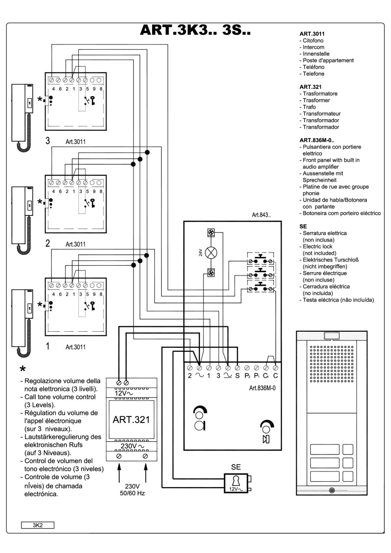 hight resolution of videx 836 series audio wiring diagram 1 x entrance 3 x phones 321