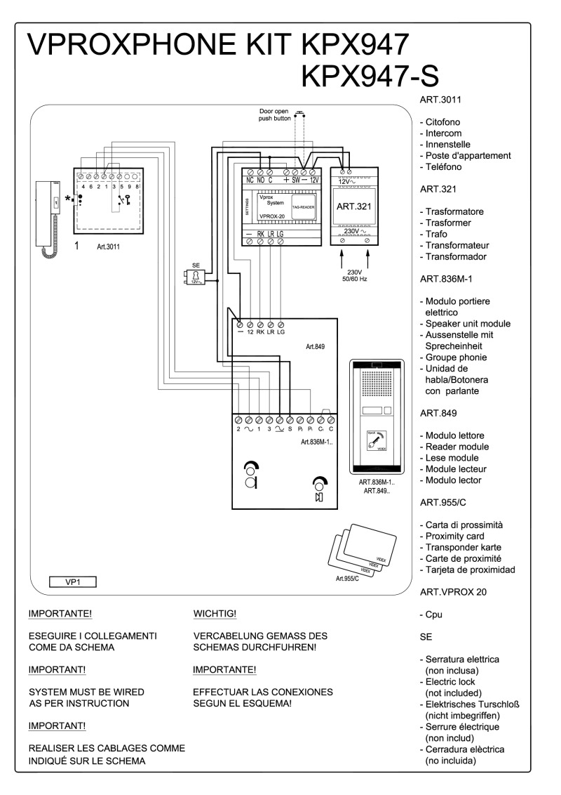 medium resolution of videx 836m series audio wiring diagram 1 x entrance 836m 1 849