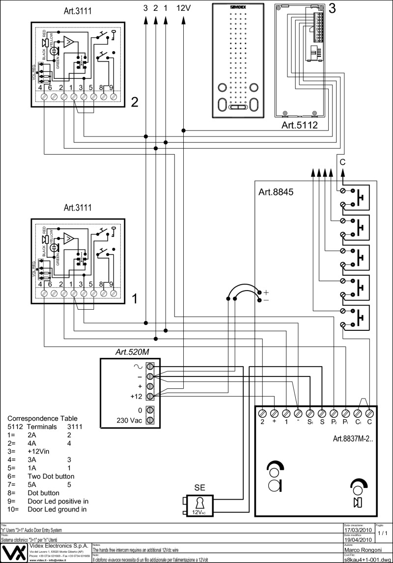 hight resolution of videx 837 series audio wiring diagram 1 x entrance n x phones 5112
