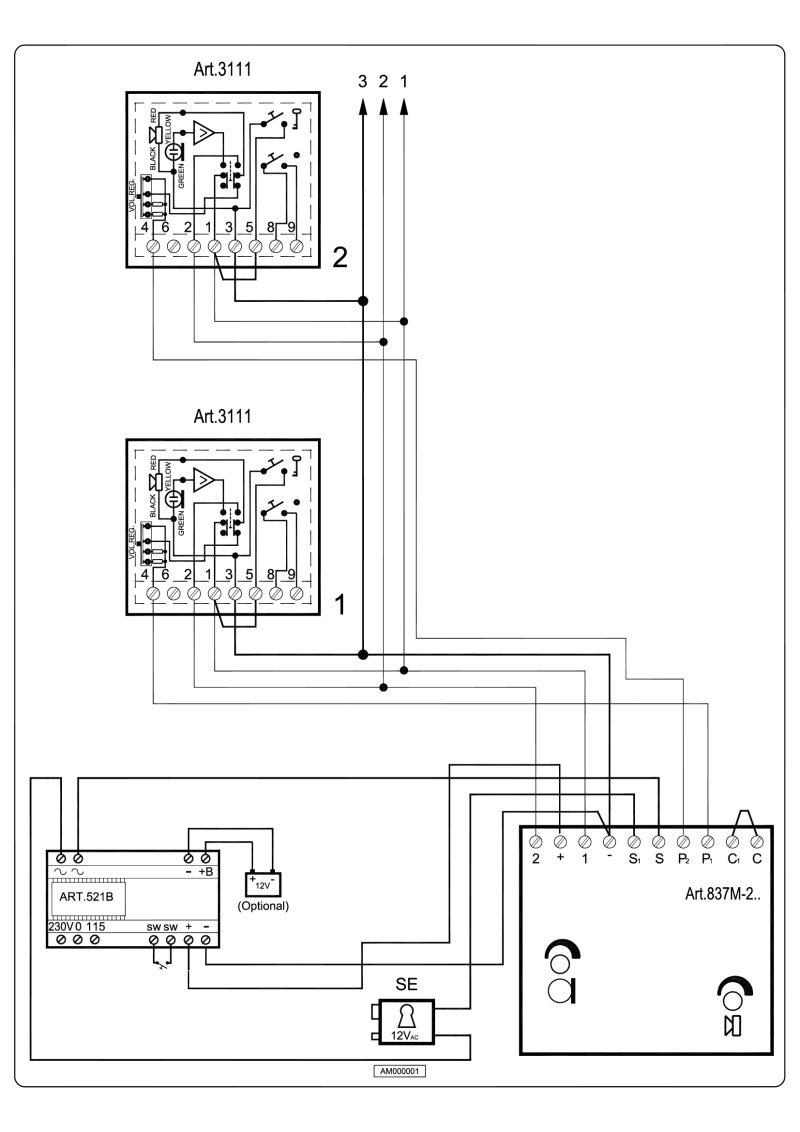 hight resolution of videx 837 series audio wiring diagram 1 x entrance 1 or 2 x phones