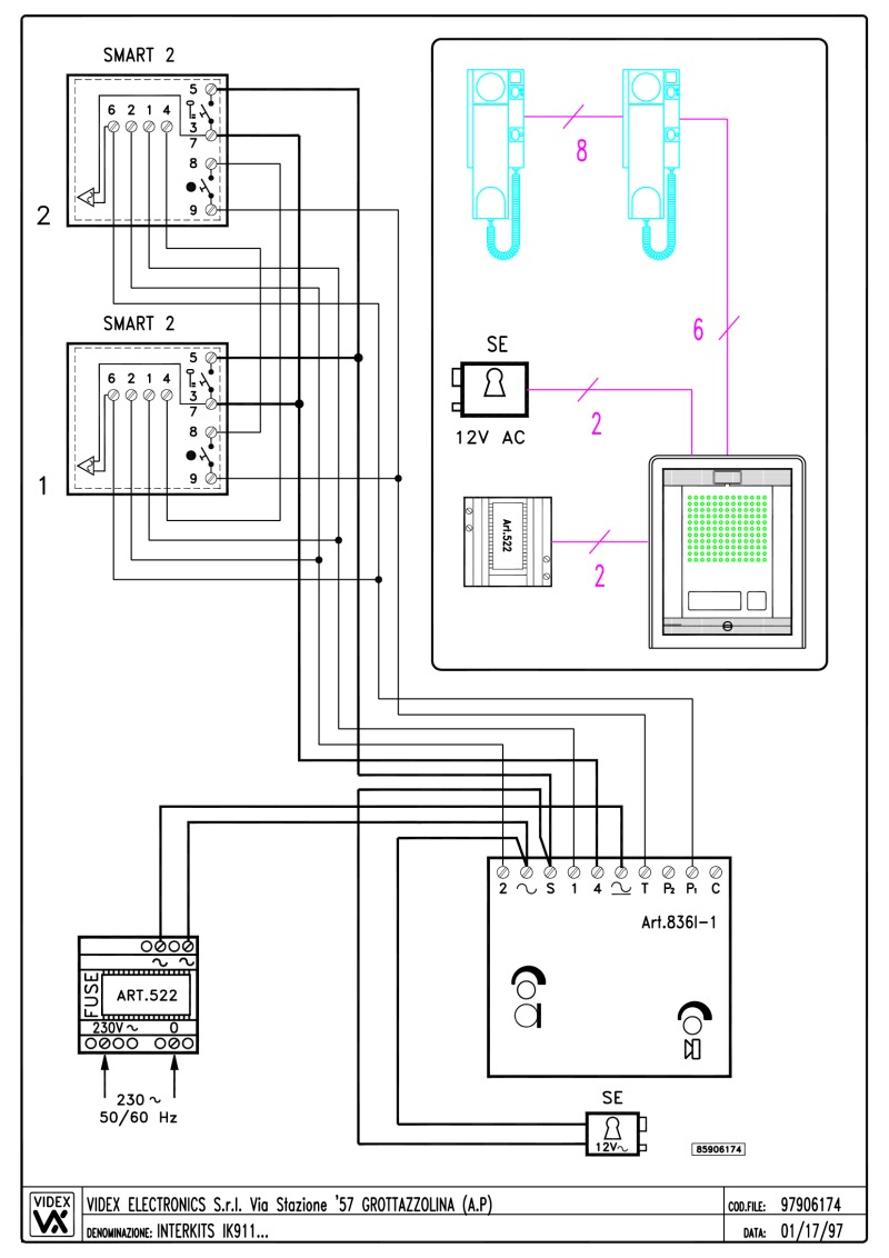 Videx Miscellaneous Wiring Diagrams