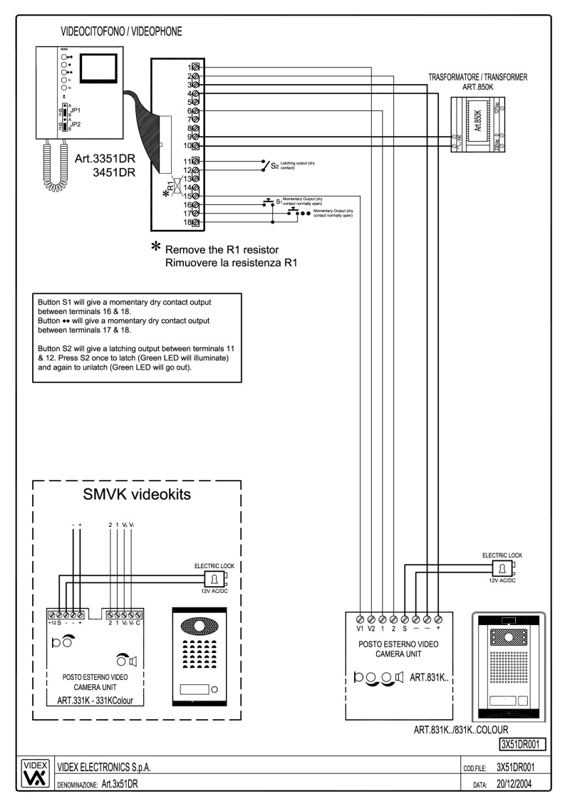 medium resolution of videx 831k series video wiring diagram 1 x entrance 1 x video phone