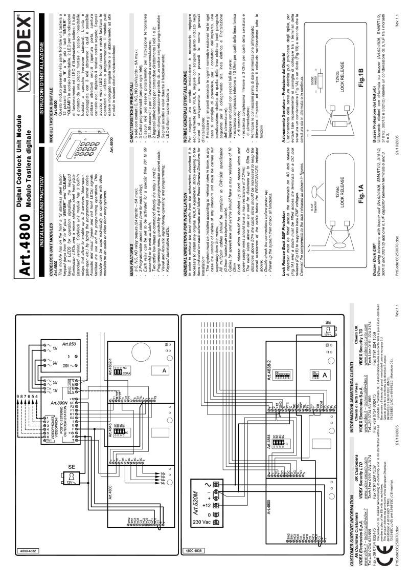 Branchement Interphone Videx Pdf