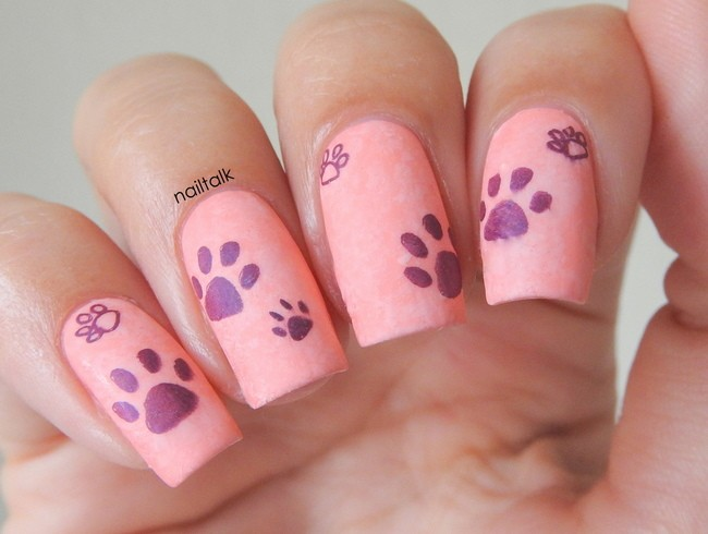purple paws nail art