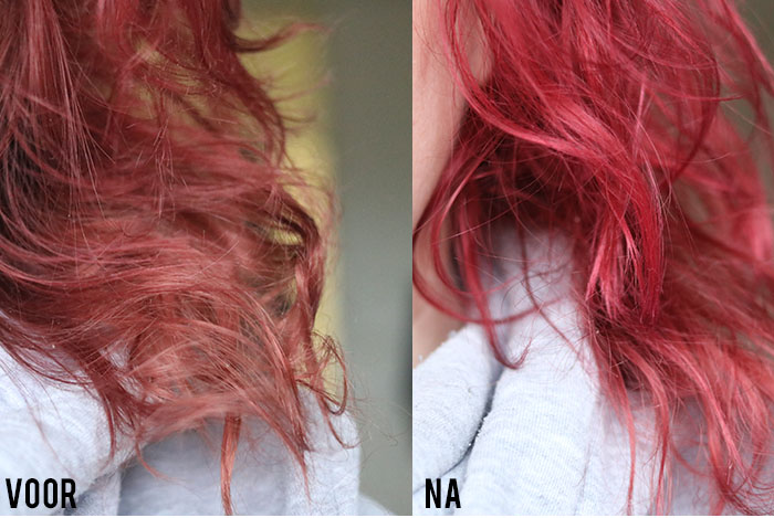 NAK colour masque Red Rouge coloured conditioner before after