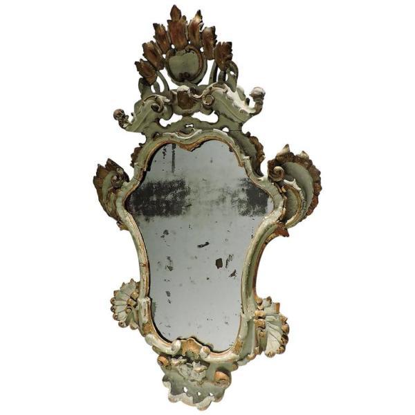 Antique Venetian Rococo Painted & Gilded Mirror