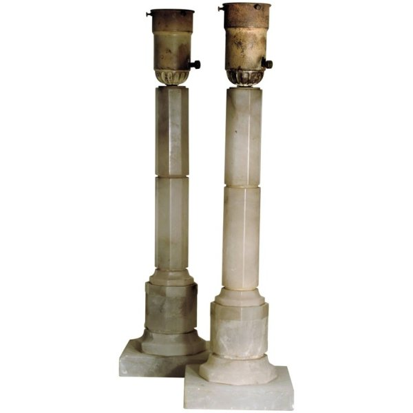 1920's Alabaster Architectural Column Lamps