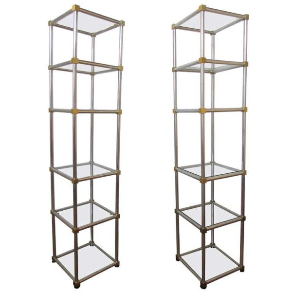 Sleek 1960'S Etageres in Polished Aluminum & Gilt Brass