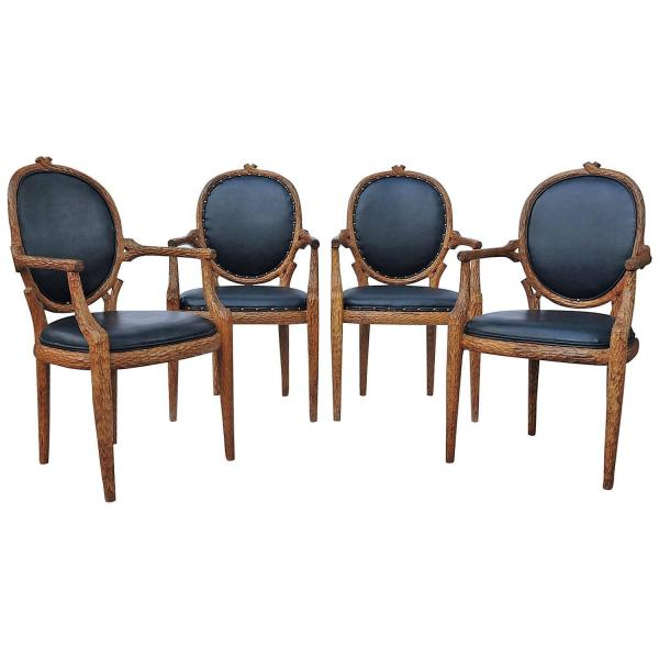Faux Bois Twig Carved Armchairs