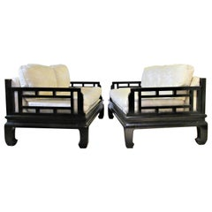 Asian Modern Ebonized Sofas in the style of Michael Taylor