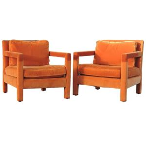 Milo Baughman Orange Parson Lounge Chairs