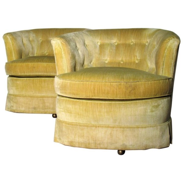 Milo Baughman style Chartreuse Barrel Chairs