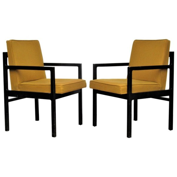 Modernist Armchairs in Blackened Oak
