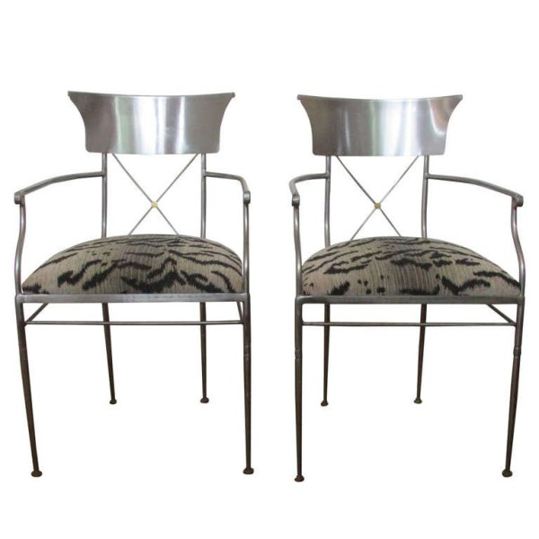 Directoire style Brushed Steel Armchairs