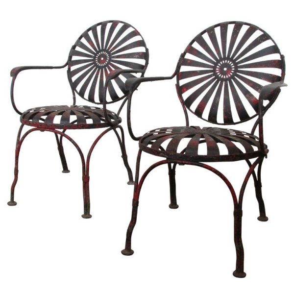 Francois Carre' Spring Seat Sunburst Chairs