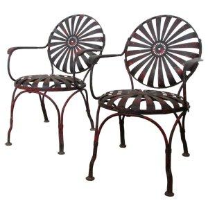 Francois Carre' Spring Seat Sunburst Chairs