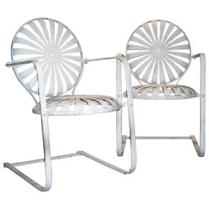 Francoise Carre' Cantilever Base Spring Steel Armchairs