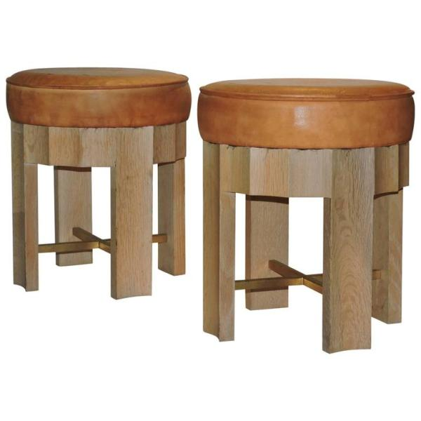 Cerused Wood & Leather Stools