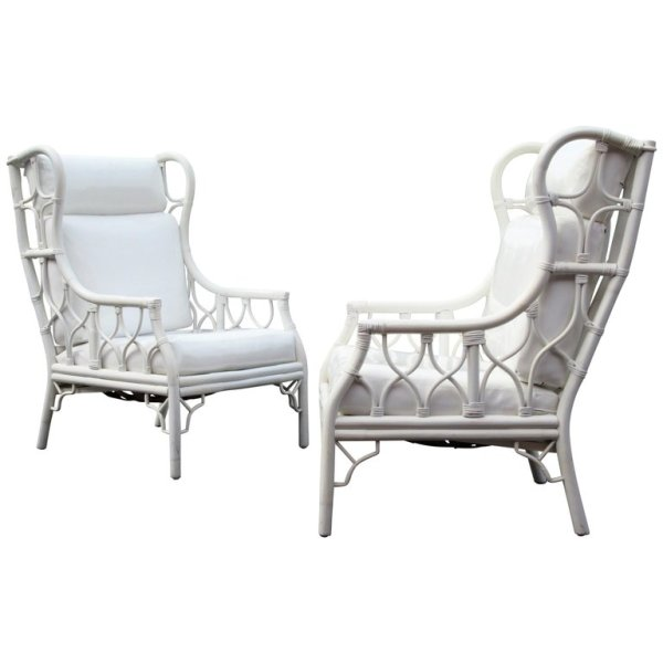 Large Scale Chinese Chippendale Rattan Wing Chairs