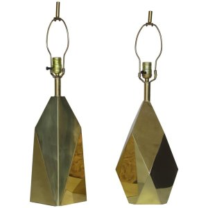 Cubist Brass Lamps