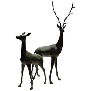 Bronzed Metal Deer Statues