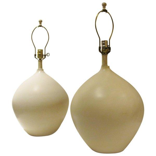 Jean Michel Frank style Vellum White Glazed Ceramic Lamps Pair