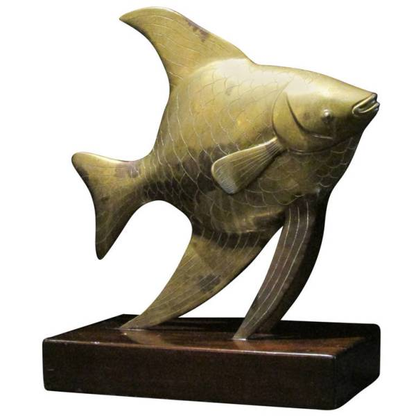 Large Brass Angel Fish Sculpture by Frederick Cooper