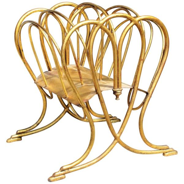 Italian Gilt Metal Magazine Rack