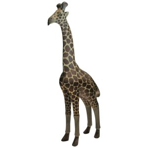Old Carved Wood Large Standing Giraffe Statue