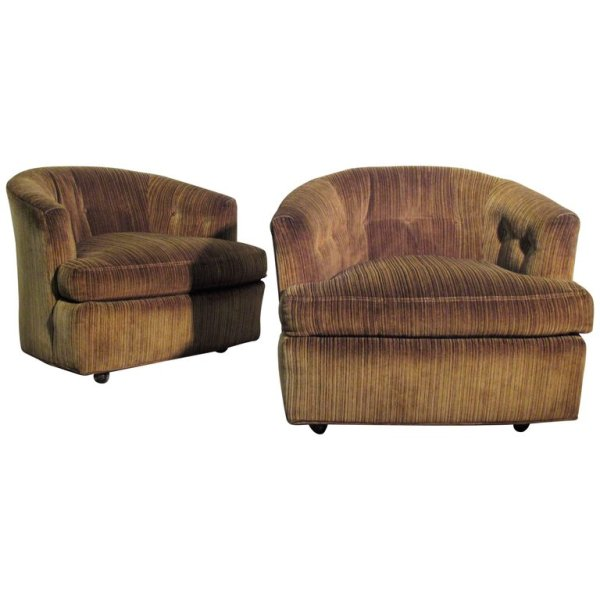 Sculptural Hollywood Regency Tub Chairs